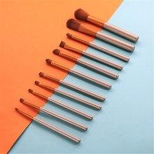 12pcs Travel Makeup Brush Sets Pro Foundation Powders Eyeshadow Cosmetic Brushes Soft Synthetic Hair & Tool YA50