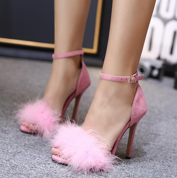 bb655e051c0 MANMITU12 Free Shipping 2017 NEW Vogue Adult Flock Shoes Women High Heeled  Sandals Fashion Sexy Fuzzy Open Toe Summer Heels 11cm-in Women's Sandals ...