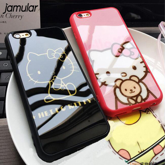 306bd2bce JAMULAR Cute Cartoon Hello Kitty Silicone Case For iphone 7 8 6 6s Plus 5  5s SE Mirror Back Cover for iphone 6 6s 8 Plus Coque