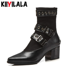 Kiiyilala Women Motorcycle Boots With Belt Buckle Square Heel Ankle Boots For Women Autumn Pointed Toe Black Shoes Woman Boots punk woman pointed toe low heel ankle boots black metal belt buckle hollow ankle boots real photos hollow knight woman boots