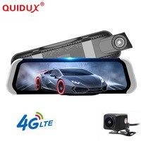 QUIDUX 3g/4G Видеорегистраторы для автомобилей 10 с двумя объективами Android зеркало заднего вида видео Full HD 1080 P Регистраторы gps WI FI регистраторы Smart