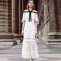 HIGH QUALITY New Fashion 2017 Designer Dress Women's Halter Neck Off The Shoulder Bow Lace Long Dress