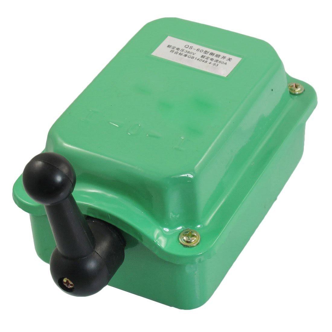 AC 380V 60A Forward Stop Reverse Motor Cam Starter Changeover Switch QS-60 GreenAC 380V 60A Forward Stop Reverse Motor Cam Starter Changeover Switch QS-60 Green