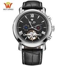 Nieuwe Tourbillion Mannen Skelet Automatische Mechanische Horloge Zwart Lederen Casual Datum Kalender Waterdichte Hand Wind Horloge
