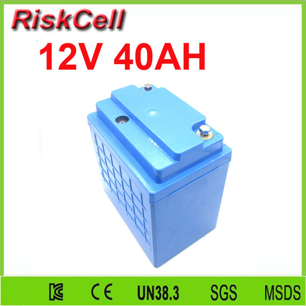 Free  shipping Safety assurance rechargeable lifepo4 12v 40ah lithium ion battery for solar power storage/e-bike/street light