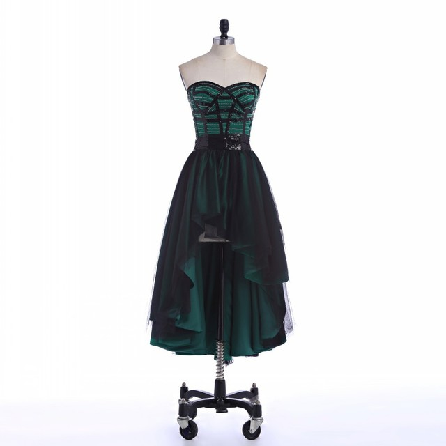 Plus Size Emerald Green Long Homecoming Dresses 2015 Appliques Beading High  Low Short Front Long Back 1ddb3c0f62ae
