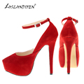 LOSLANDIFEN NEW WOMENS HIGH HEELS POINTED TOE SHOESPARTY COURT SHOES Flock CONCEALED PUMPS PLATFORM Ankle Strap  817-5VE