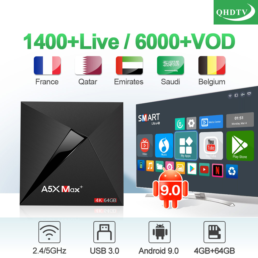 QHDTV 1 Year IPTV France Arabic Belgium Netherlands A5X MAX+ Android 9.0 USB3.0 4G+64G Dual-Band WIFI IPTV Dutch French IPTVQHDTV 1 Year IPTV France Arabic Belgium Netherlands A5X MAX+ Android 9.0 USB3.0 4G+64G Dual-Band WIFI IPTV Dutch French IPTV