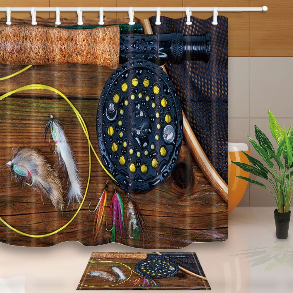 Fish Hooks with Fishing Lure Rods on Wooden for Fisherman Gifts 69X70in Mildew Resistant Fabric Shower Curtain Suit
