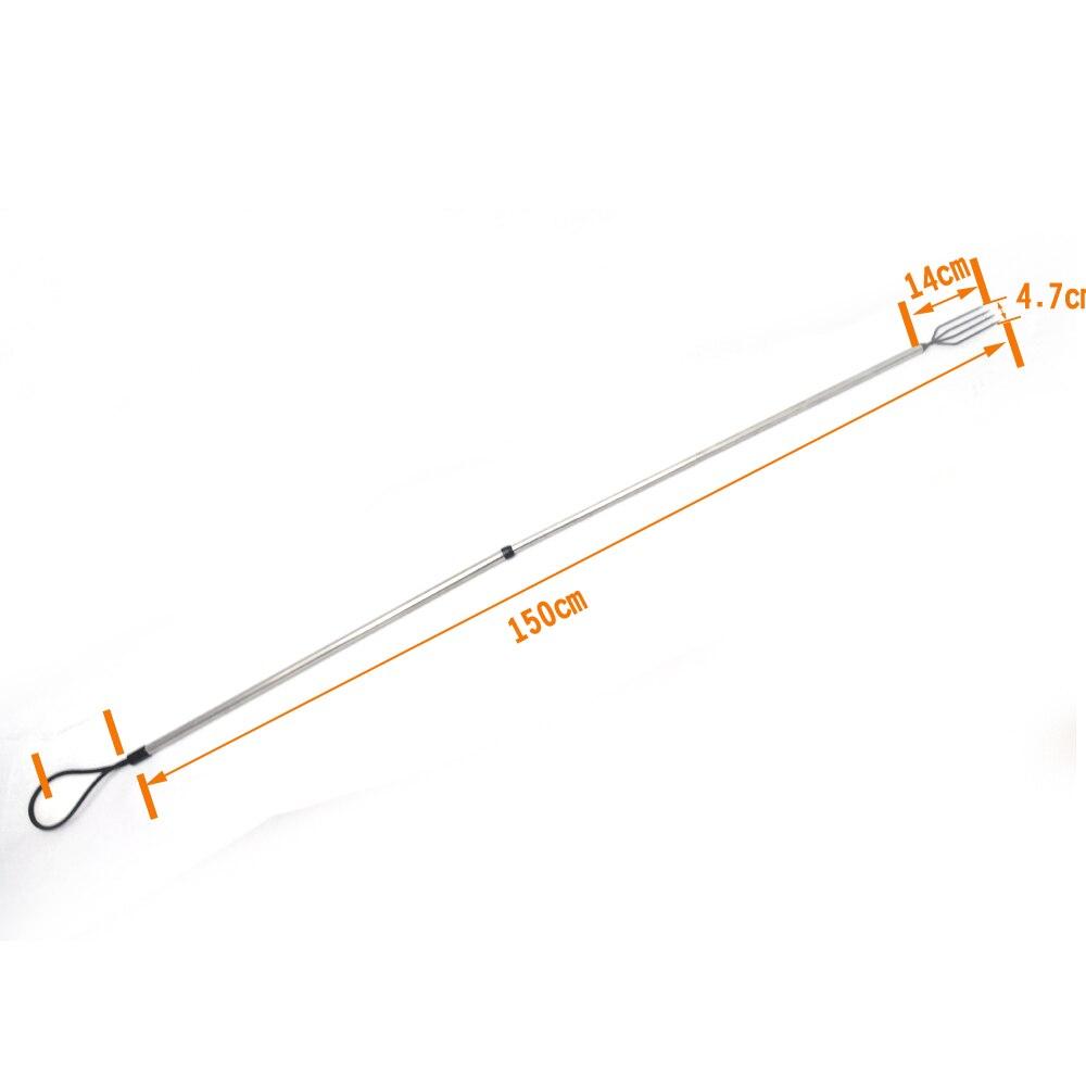 OLOEY 2 pièce haute qualité Durable forte 2 section 4 dents en acier inoxydable broche glace lance outil de pêche crochet de pêche - 4