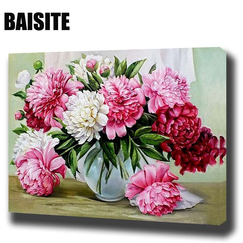 BAISITE Canvas Painting Framed Numbers-Flowers-Pictures Wall-Art Living-Room Home-Decor