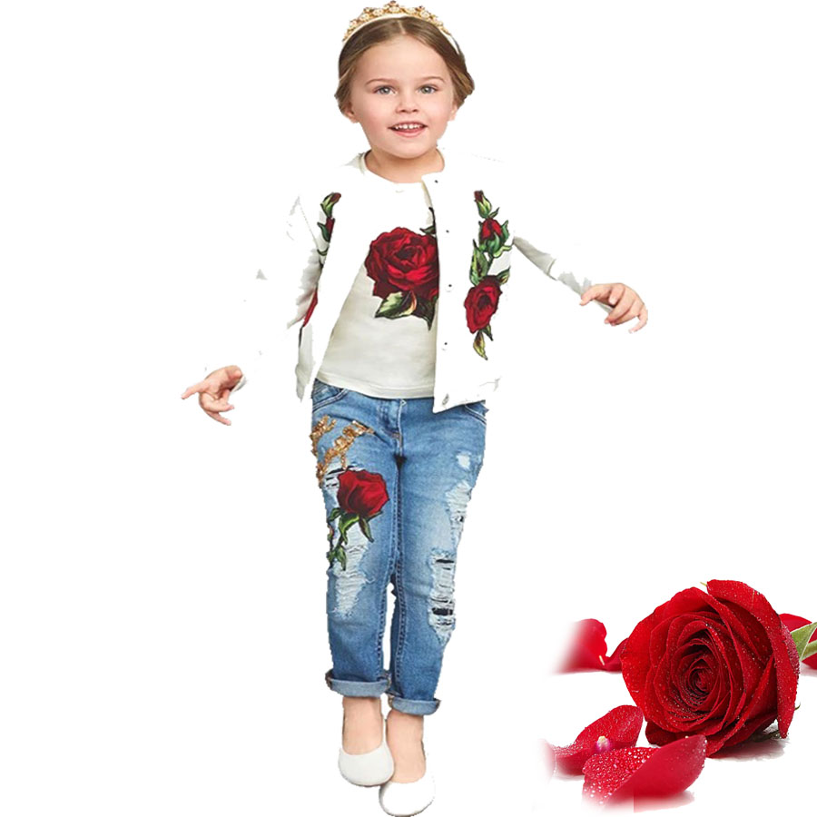 3pcs Roupas infantis menina suit girls 2018 kids clothes rose jacekt, t-shirt,denim pants spring teenage girls clothing sets