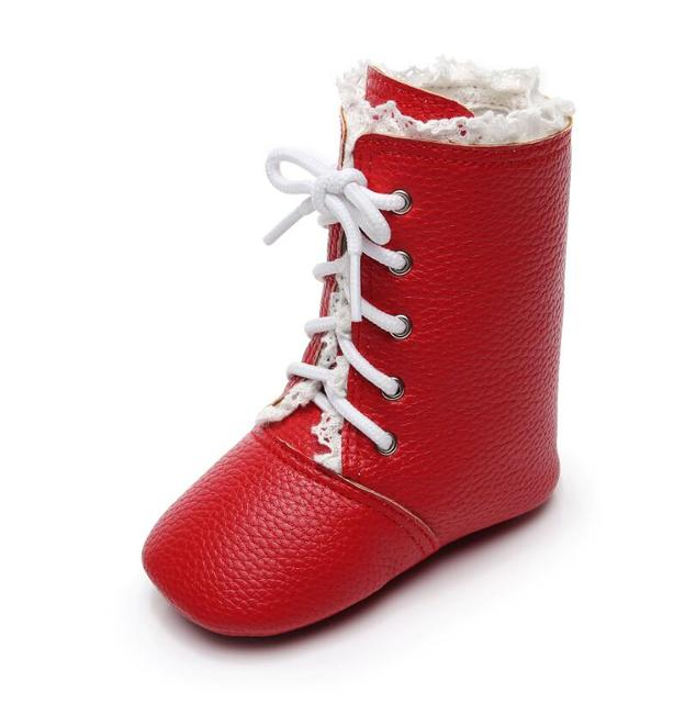 Fashion Newborn Infant Toddler Baby Girls Shoes Lace Up Rubber Hard Bottom Boots First Walkers Crib Shoes 0-24 M