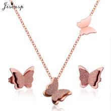 Jisensp Gold Matte Butterfly Stud Earrings Necklace Jewelry Sets for Girls Children Stainless Steel Jewelry Kids Gift Wholesale(China)