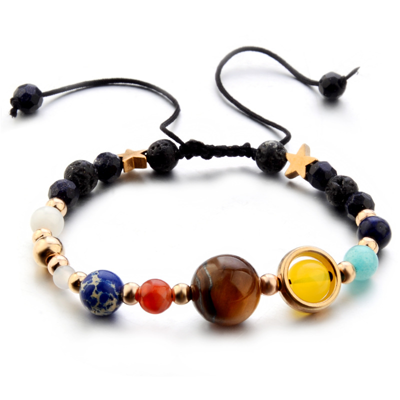 2018 Universe Galaxy Eight Planets Bracelets Solar System Natural Stones Beaded Healing Mala Cord Bracelets & Bangles Unisex