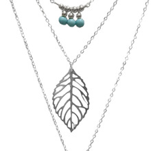 Multilayer Turquoise Leaf Long Pendant