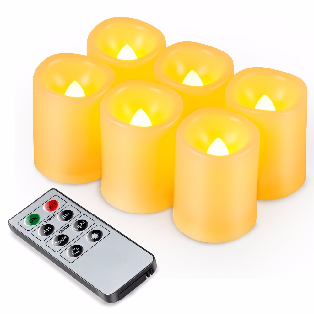 Kohree 6 Packs Realistic Led Candle Lights, Remote Timer Batteries Included Unscented Pillar Candles For Christmas Decoration