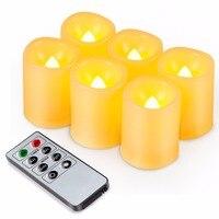 Kohree 6 Packs Realistische Led Kerze Lichter  Remote Timer Batterien Enthalten Unscented Säule Kerzen für Weihnachten Dekoration auf