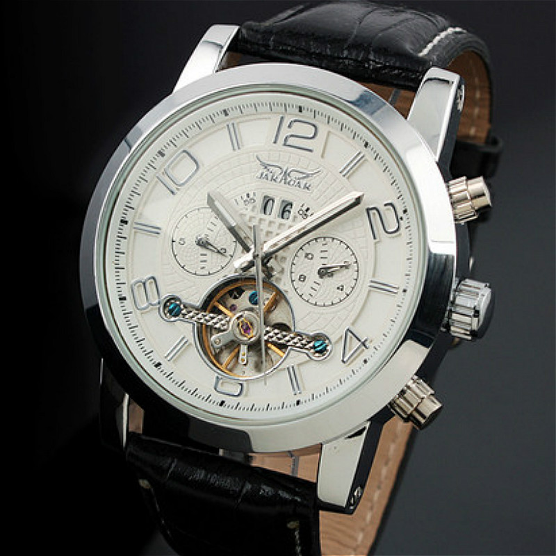 Jargar Automatic Men Watch Black Genuine Leather Strap Mechanical Wristwatches Silver Color with Gift Box oulm brand mens rectangle leather strap hand wind mechanical watch fashion casual wristwatches with gift box relogio releges