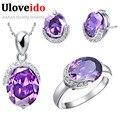 35% off venda uloveido 925 prata cristal roxo conjuntos de jóias de noiva conjunto de colar brincos anel de casamento bijuteria brincos t085