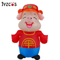 JYZCOS Traditional Chinese Style Happy Pig Inflatable Costume Animal Cosplay Costume Adult Purim Halloween Costume Fancy Dress