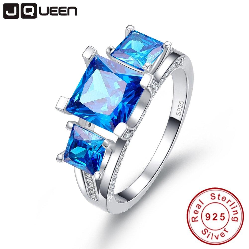 JQUEEN 2.5 Ct Emerald Cut Natural Blue Topaz 3 Stones ...