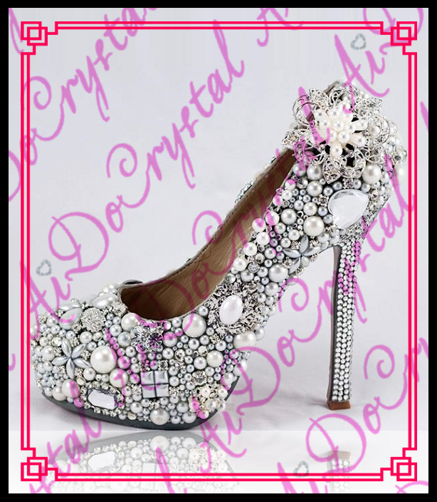 Aidocrystal Sweet wedding shoes with crystal ultra high heels round toe formal dress rhinestone shoes14cm women shoes pumps