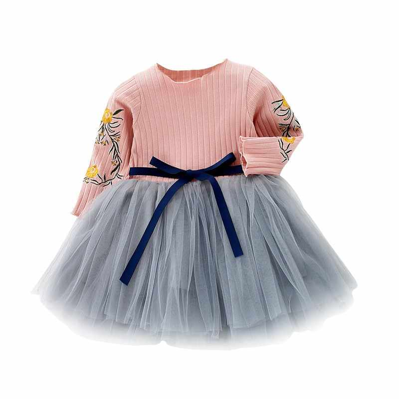 Embroidery  Flowers Baby Girl Dress Autumn Long Sleeve Flower Bow Kids Dresses New Girls Mesh Princess Wedding Dresses