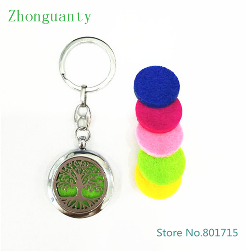 Tree of life Diffuser Key chain Perfume Aromatherapy essential oil Diffuser Locket pendant with keyring With 5pcs Felt Pads
