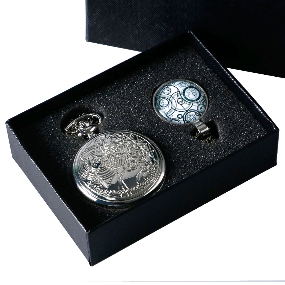 Fashion Silver Steampunk Uk Drama Dr Doctor Who Pocket Watch With Handmade Glass Dome Pendant Necklace 1 Set With Chain Gift Box unique smooth case pocket watch mechanical automatic watches with pendant chain necklace men women gift relogio de bolso
