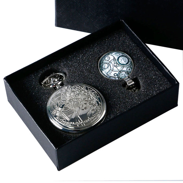 Doctor Who Silver Steampunk Pocket Watch, Pendant & Necklace With Handmade Glass Dome