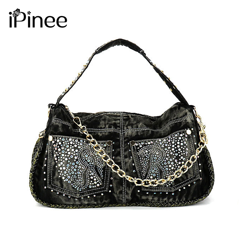 8ce10263e7d0 iPinee Brand Women Bag 2018 Fashion Denim Handbags Female Jeans Shoulder  Bags Weave Design Women Tote Bag