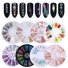 Silver Round Nail Rhinestones Rose Gold Rivet Mixed Dried Flower Holographic Marquise Studs 3D Manicure Nail Art Decoration цены