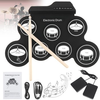 Portable Silicon Electronic Digital USB 7 Pads Roll up Set Silicone Electric Drum Kit with Drumsticks and Sustain Pedal