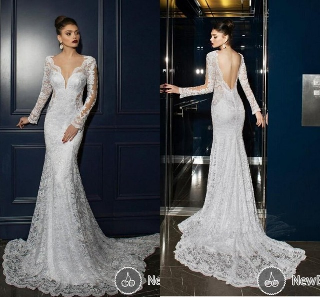Vestido De Noiva Lace Mermaid Wedding Dresses Sexy V Neck Backless