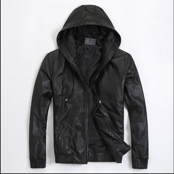 Free Shipping.Plus Size Mens Genuine Leather Jacket.fashion Soft Sheepskin Coat,casual Quality Leather Hoody.sales.S-5XL