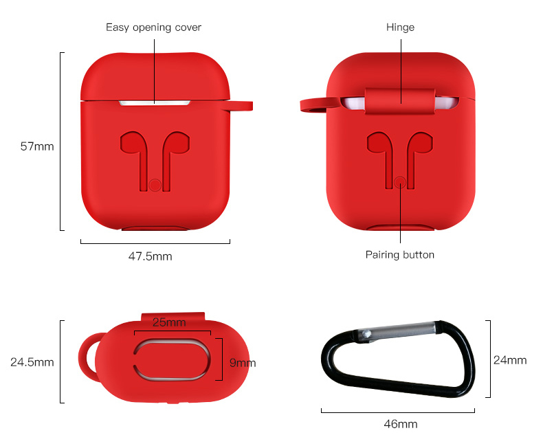 Image 4 - 1000pcs Soft Silicone Protection Case Cover for Apple Airpods charging case Portable Slim Cases with Keychain air Pods hang bag-in MP3/MP4 Bags & Cases from Consumer Electronics