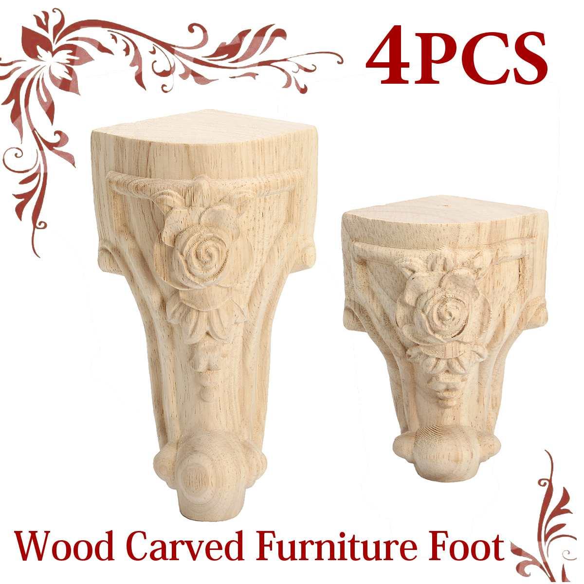 4Pcs/set 15x6cm/10x6cm European Furniture Foot Carved Wood TV Cabinet Seat Foot Bathroom Cabinet Legs