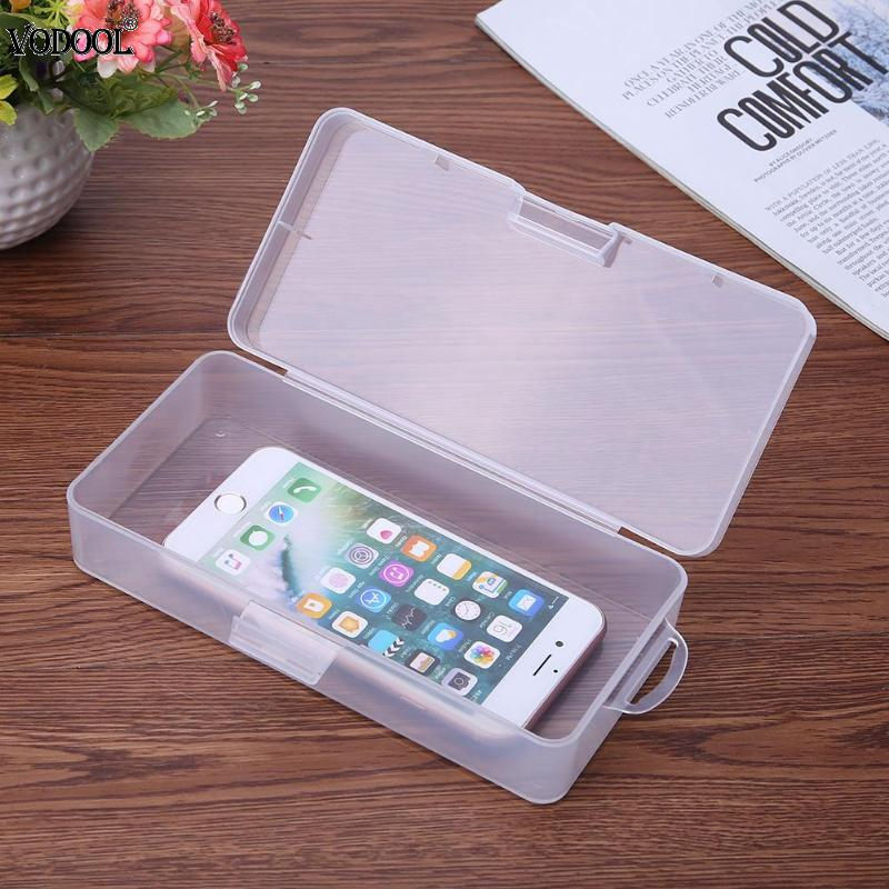 VODOOL Transparent Stationery Pencil Case Box Beads Sundries Jewelry Container 18*9 Cm Box Hardware Elements Holder Organizer