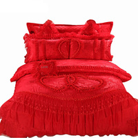 10pc 6pc Lace Bedlinen red pink luxury wedding Bedding sets queen king size duvet cover bedcover Pillow sham cushion