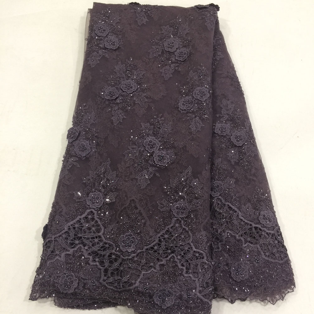 Fashion French Lace Fabric Soft Materials With Beads Mesh