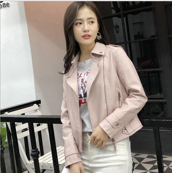 Leather   Jacket 2018 Women's New Year Design PU   Leather   Jacket Soft   Leather   Coat Slim Lapel Motorcycle Jacket Black Pink