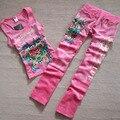 Женская случайным набором (бархат жилет + брюки) Высокое Качество flare алмаз цветочные костюмы для женской одежды