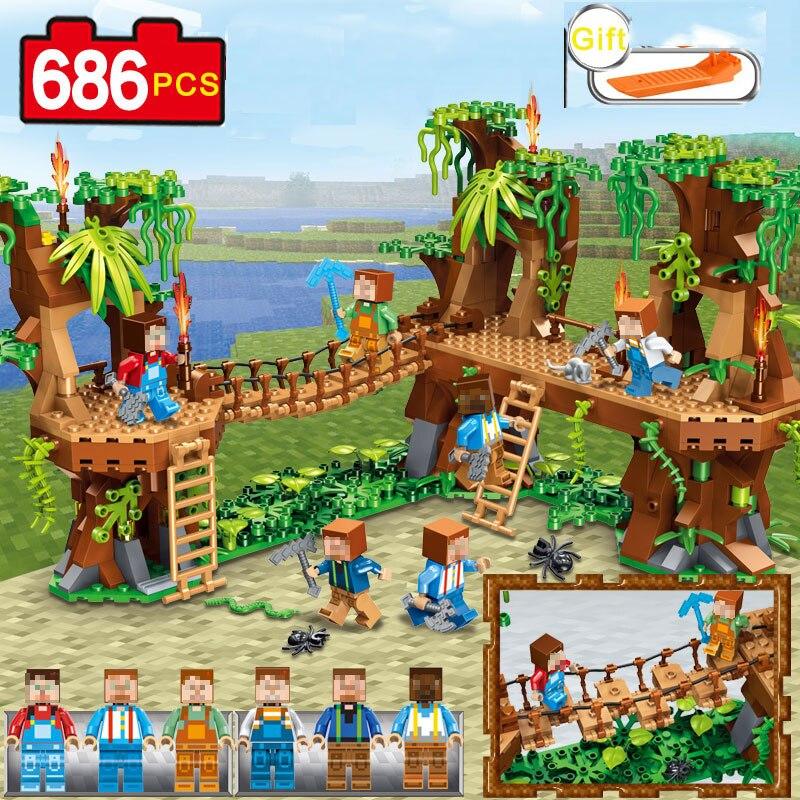 686 pièces Mon monde Village Forêt Château Pont Modèle blocs de construction Compatible Avec Légèreté Minecrafted Ville Jouet pour cadeaux pour enfant