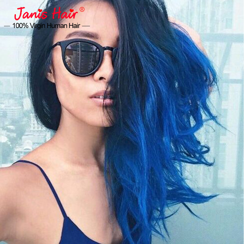 Grade 7a Peruvian Ombre Straight Blue Black Hair Extensions 1bblue