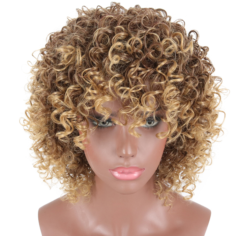 Short Curly Wigs Blonde And Brown Ombre Synthetic Wigs For Black Women Afro Kinky Curly Wigs With Bangs African Americans Women