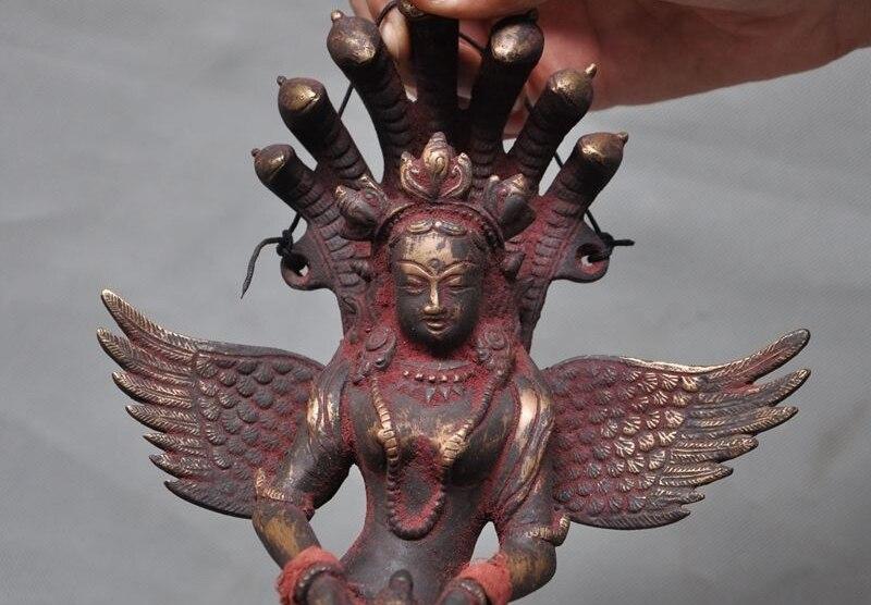 Old Tibet Bronze 7 Snake Head Naga Kanya Kwan-yin Statue