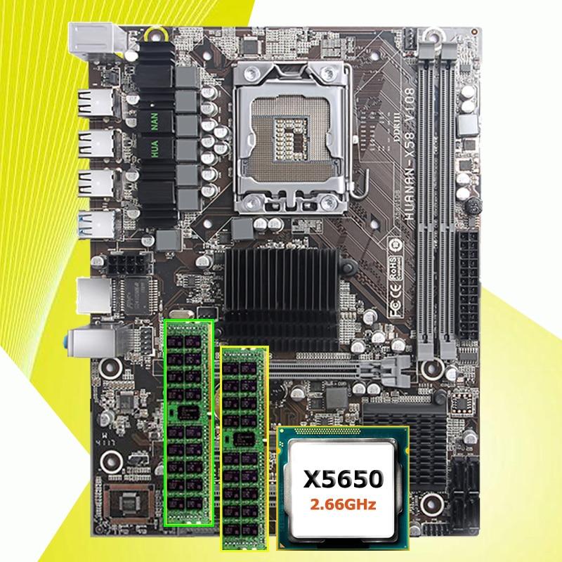 купить Discount motherboard HUANAN ZHI X58 LGA1366 motherboard with CPU Intel Xeon X5650 2.66GHz RAM 16G(2*8G) REG ECC 2 years warranty по цене 12341.55 рублей