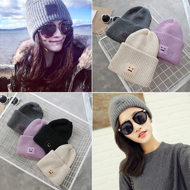 2016 Fashion Autumn Winter Hats Smile Faces Label Knitting Warm Caps for  Women Beanies Hip Hop Bonnets Casual hats ac180ef42c7