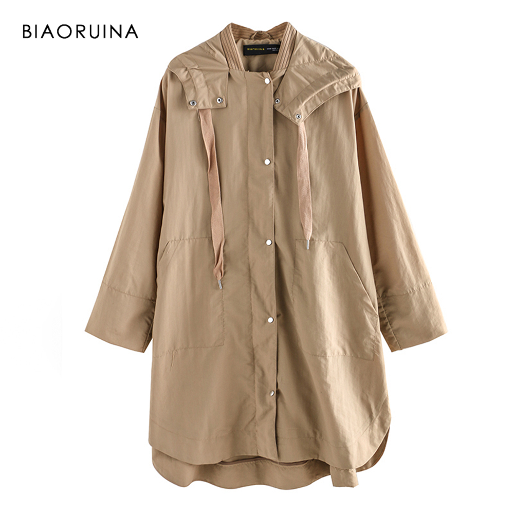 BIAORUINA Women Khaki Solid Casual Long Hooded   Trench   Coat Female Fashion Thin Comfortable Coat Women's Loose Straight   Trench